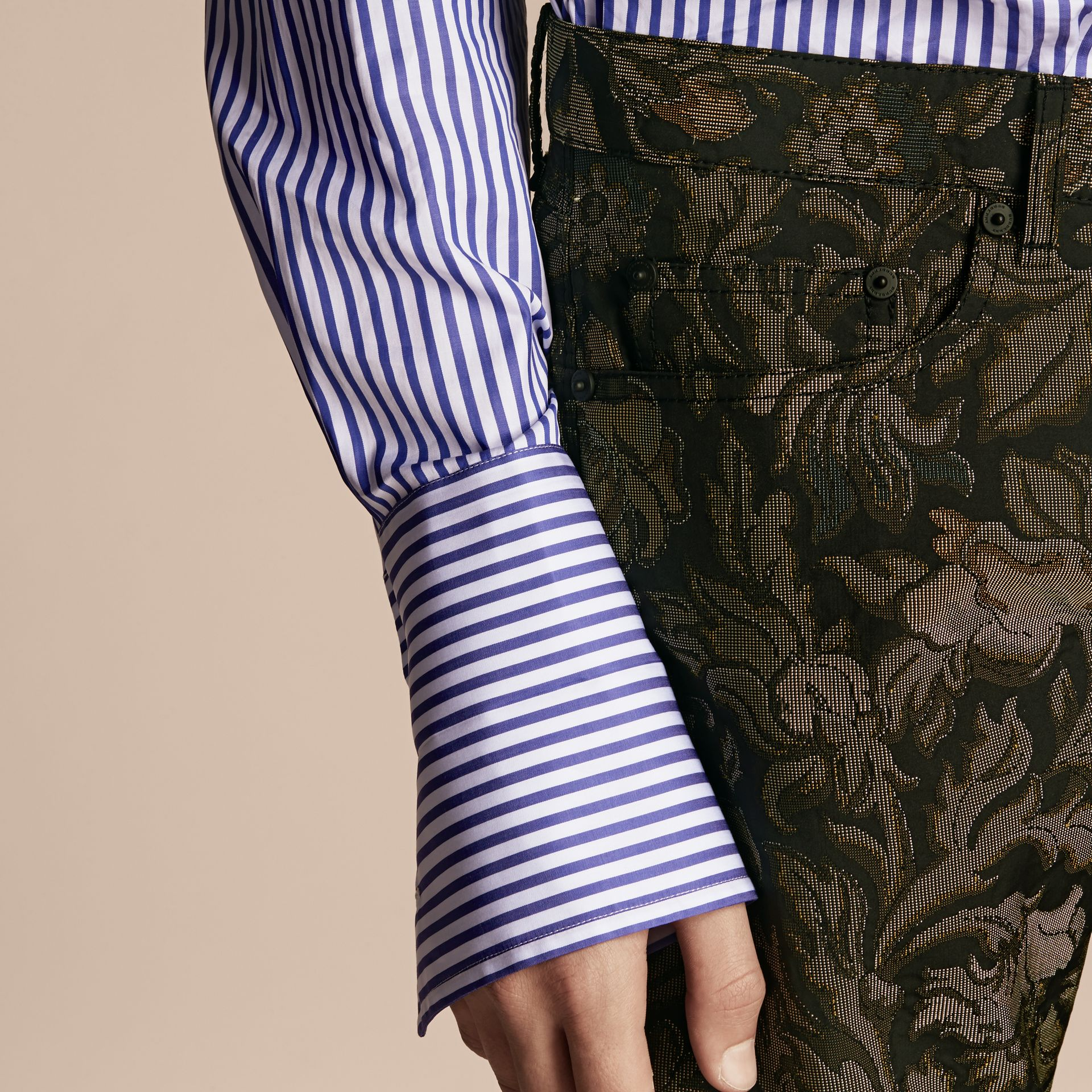 Sage Slim Fit Floral Jacquard Jeans Sage - gallery image 5