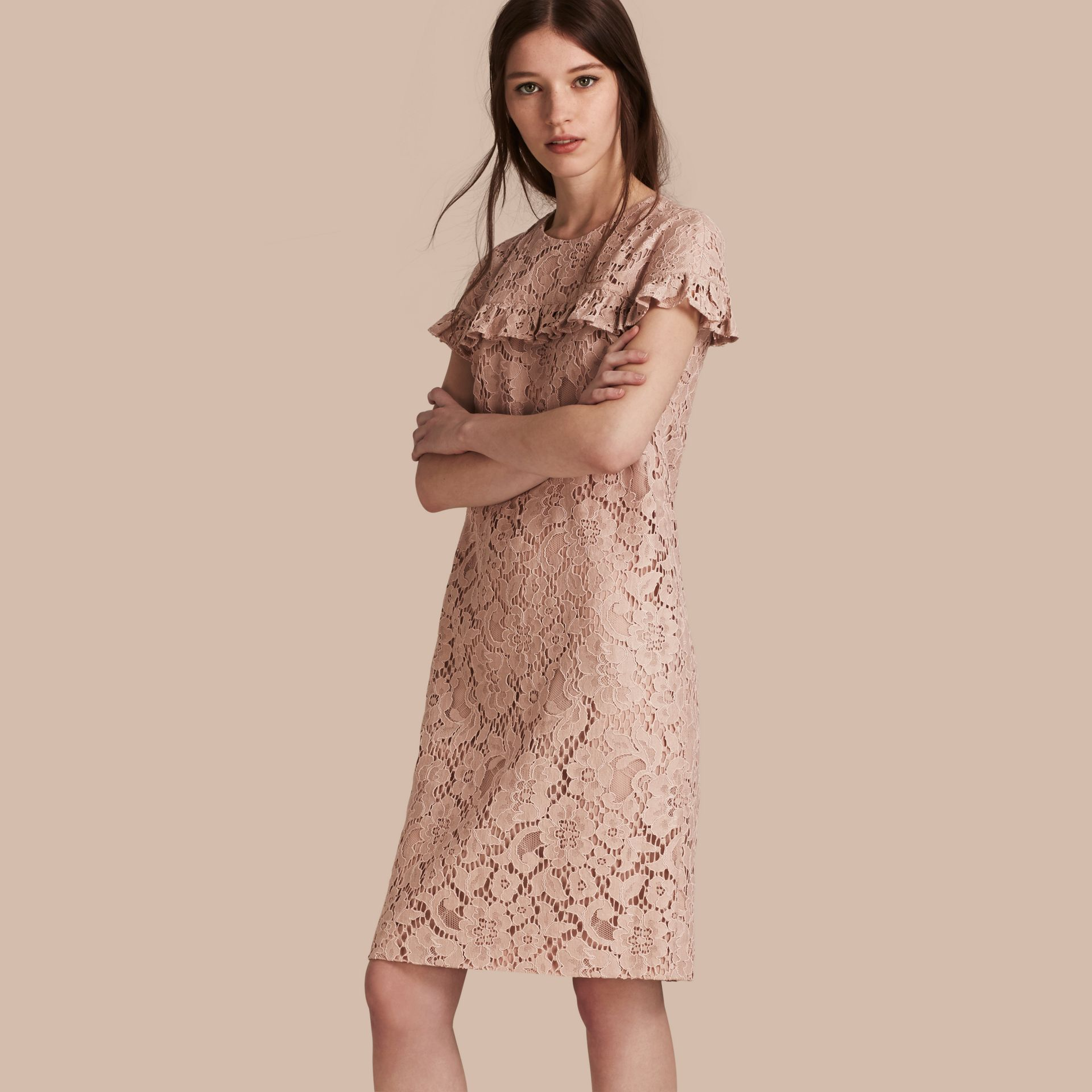 Nude Mid-length Lace Shift Dress with Ruffle Detail - gallery image 1