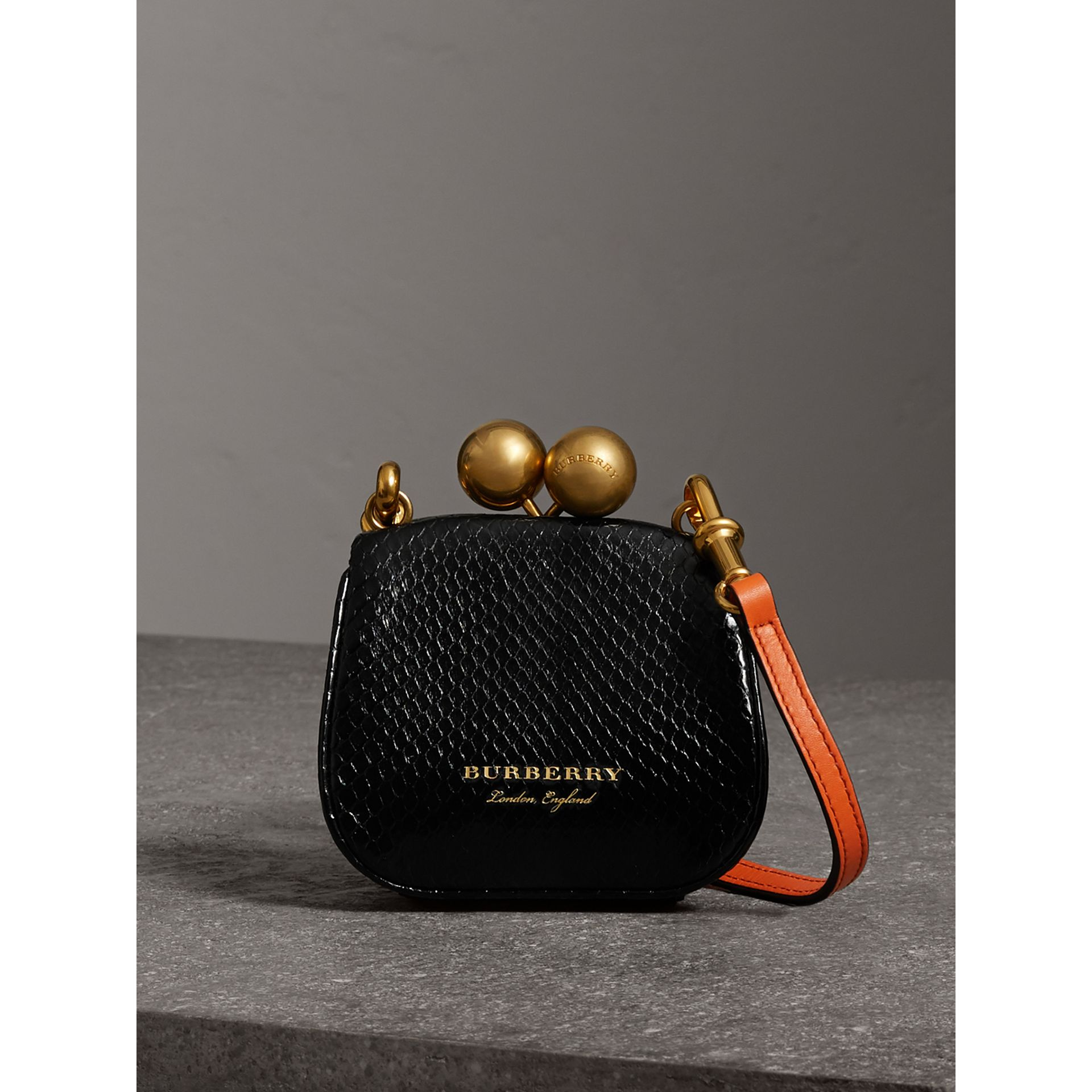 Mini Two-tone Python Frame Bag in Black - Women | Burberry - gallery image 0