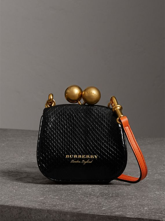 Mini Two-tone Python Metal Frame Clutch Bag in Black