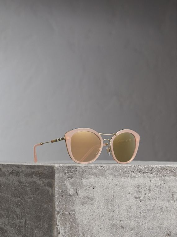 Check Detail Round Frame Sunglasses in Rose Pink - Women | Burberry Canada