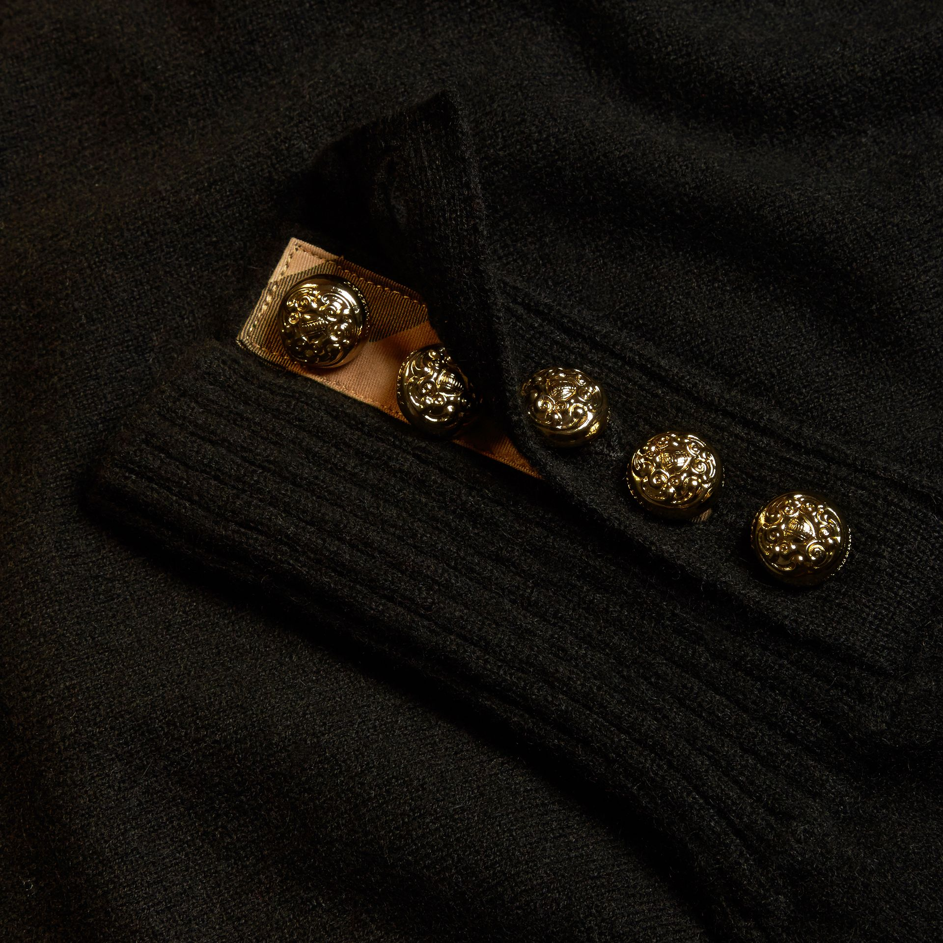 Cashmere Sweater with Crested Buttons in Black - gallery image 2