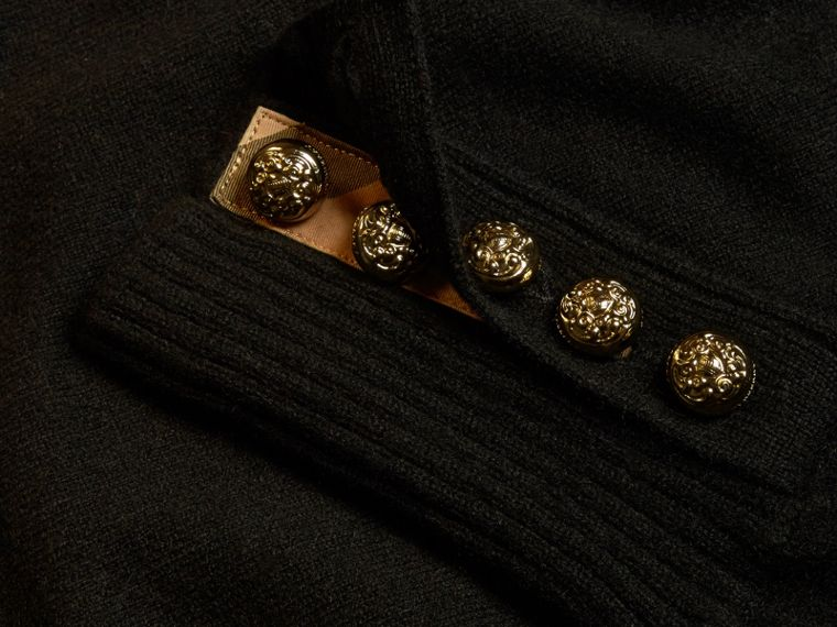 Cashmere Sweater with Crested Buttons in Black - cell image 1