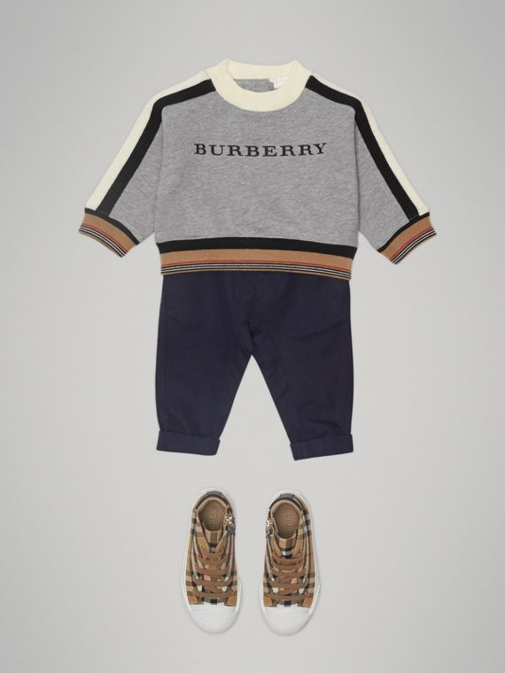 Embroidered Logo Cotton Sweatshirt in Grey Melange | Burberry - cell image 2
