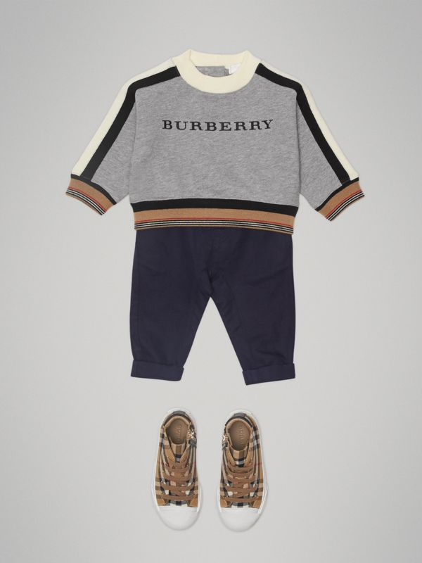 Embroidered Logo Cotton Sweatshirt in Grey Melange - Children | Burberry United Kingdom - cell image 2