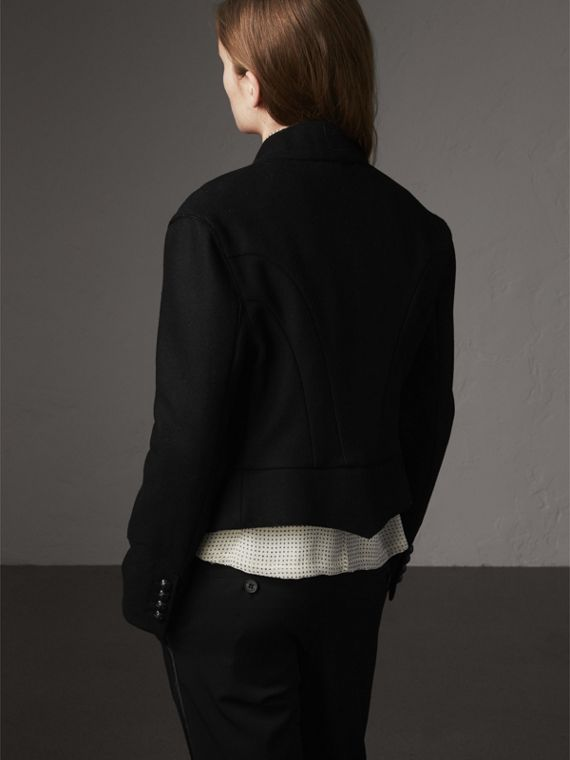 Wool Blend Military Jacket in Black - Women | Burberry - cell image 2