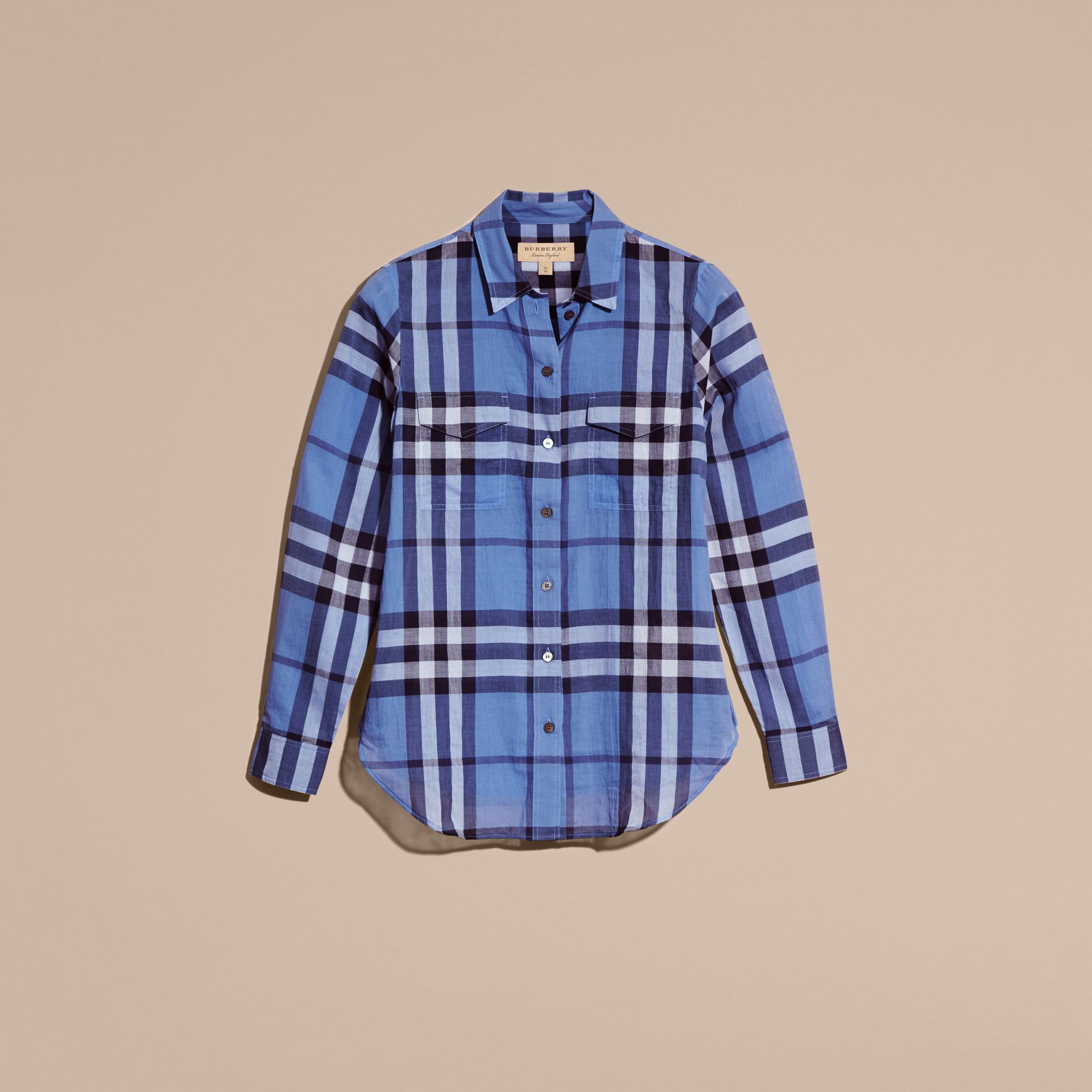 Hydrangea blue Check Cotton Shirt Hydrangea Blue - gallery image 4