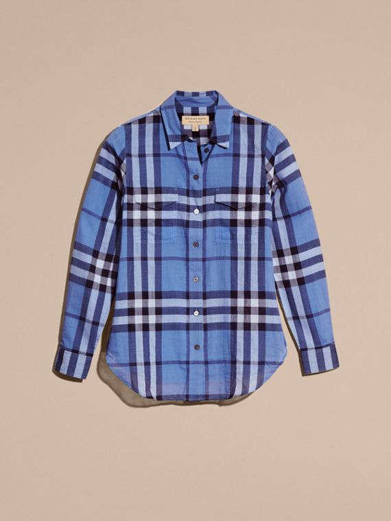 Hydrangea blue Check Cotton Shirt Hydrangea Blue - cell image 3