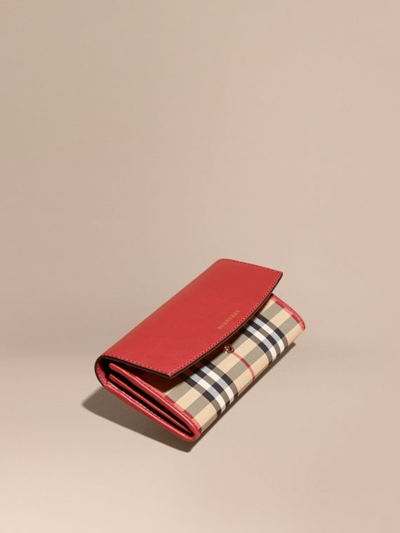 Horseferry Check and Leather Continental Wallet in Parade Red - Women | Burberry