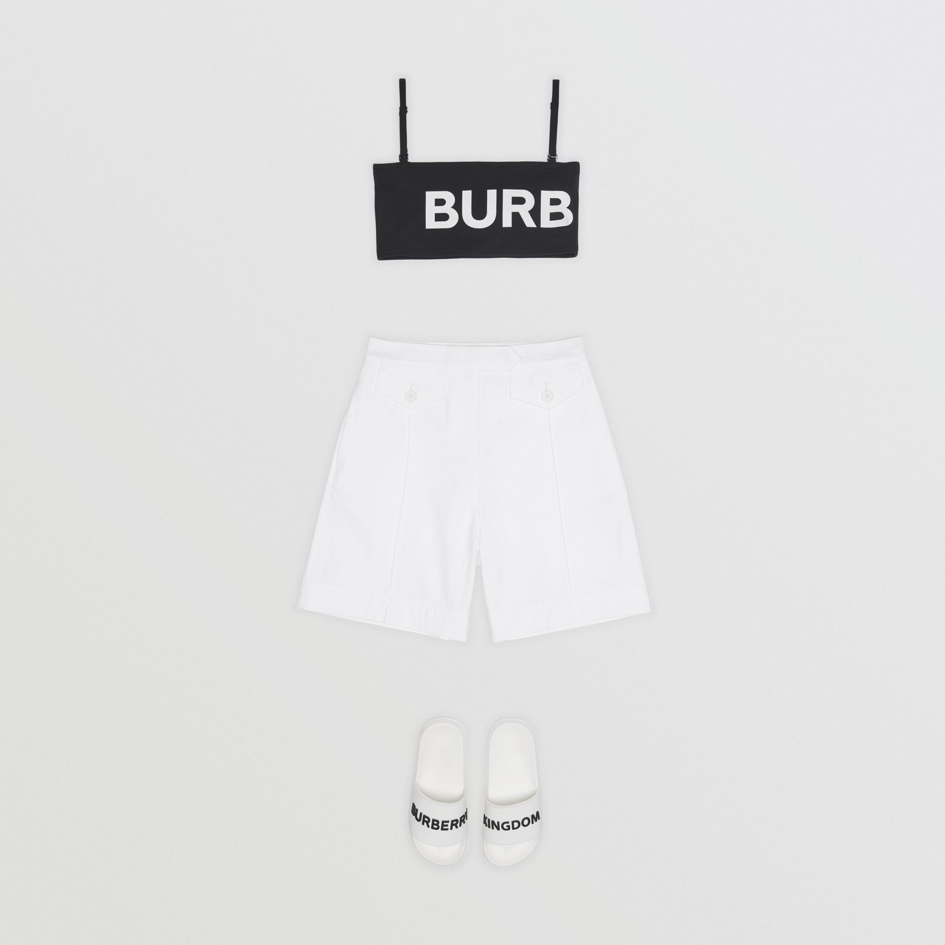 Logo Print Cotton Tailored Shorts in Optic White | Burberry - gallery image 2