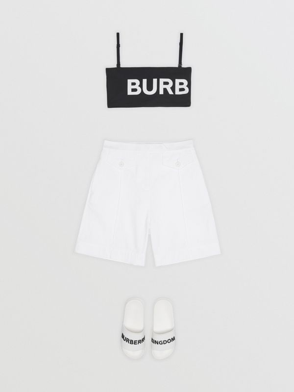 Logo Print Cotton Tailored Shorts in Optic White - Children | Burberry - cell image 2