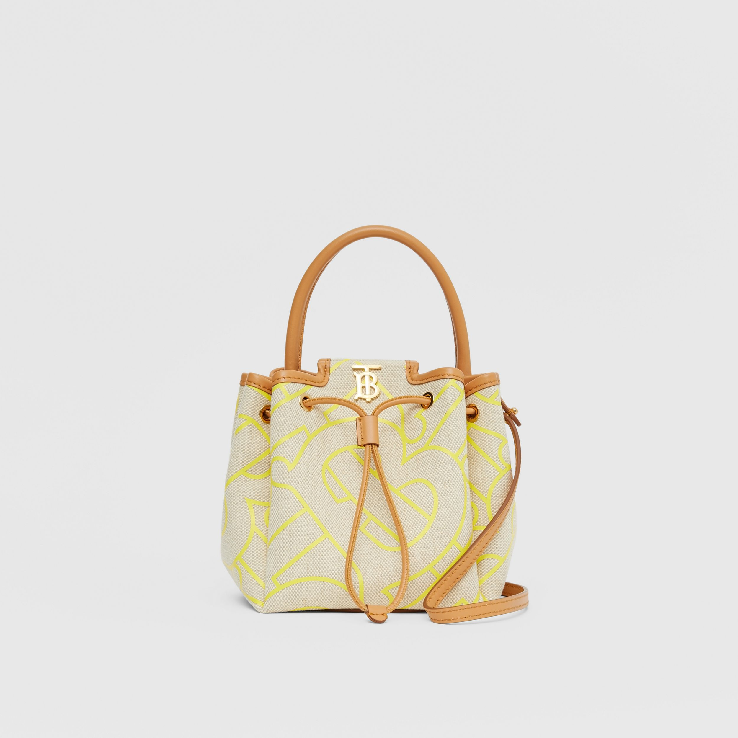 Monogram Motif Canvas and Leather Bucket Bag in Natural/yellow - Women | Burberry - 1