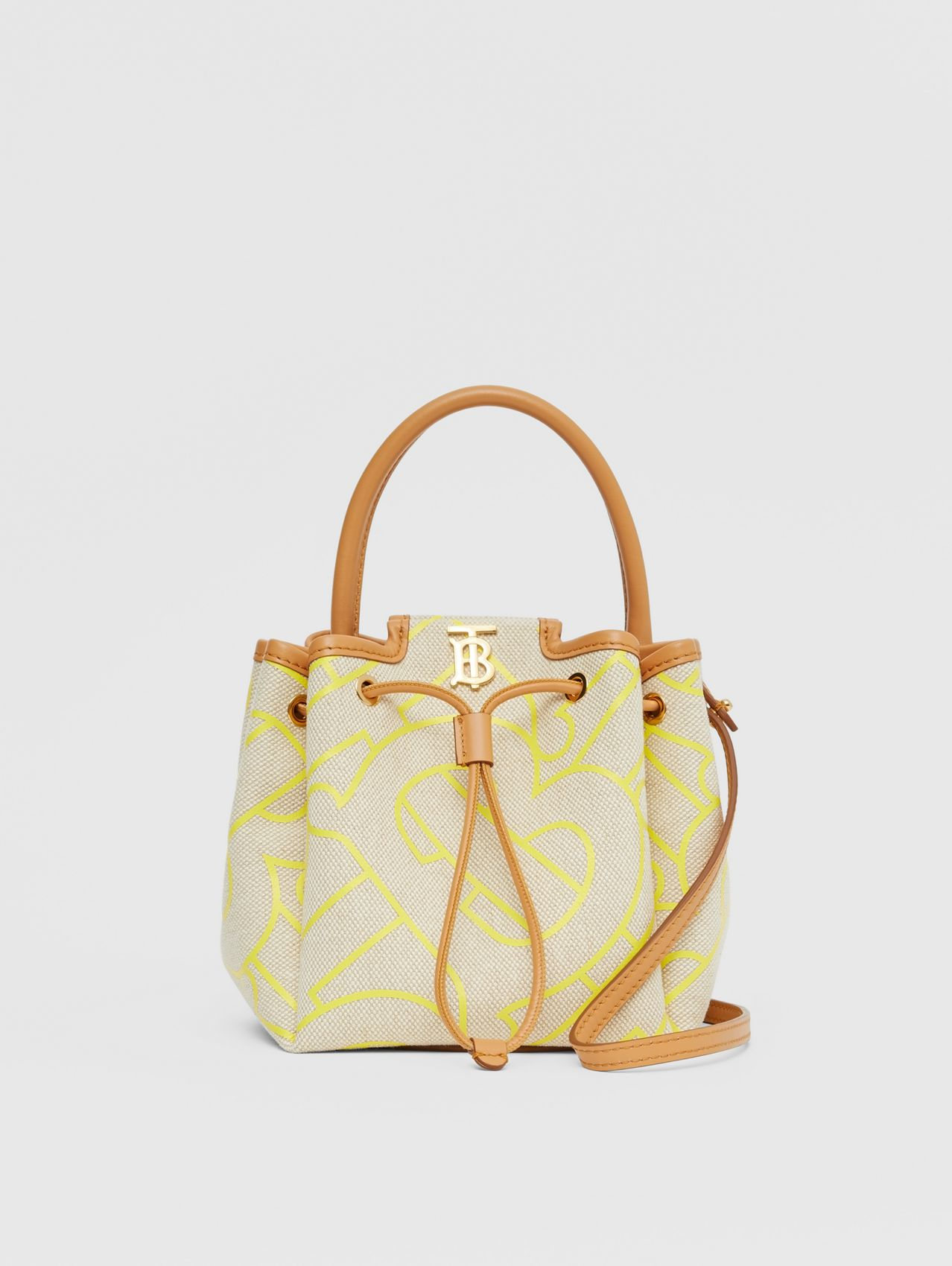 Monogram Motif Canvas and Leather Bucket Bag in Natural/yellow