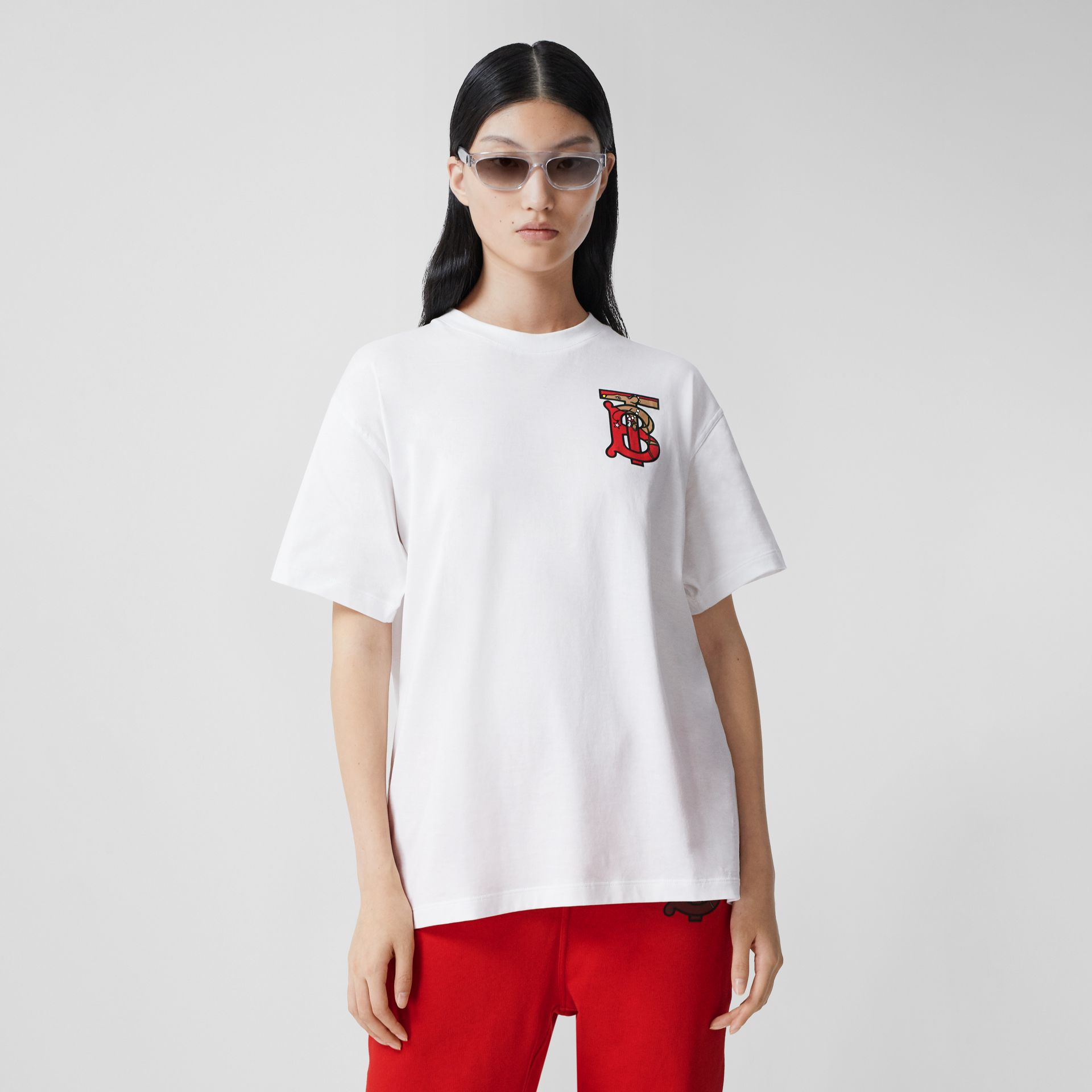Monogram Motif Cotton Oversized T-shirt in White - Women | Burberry - gallery image 4