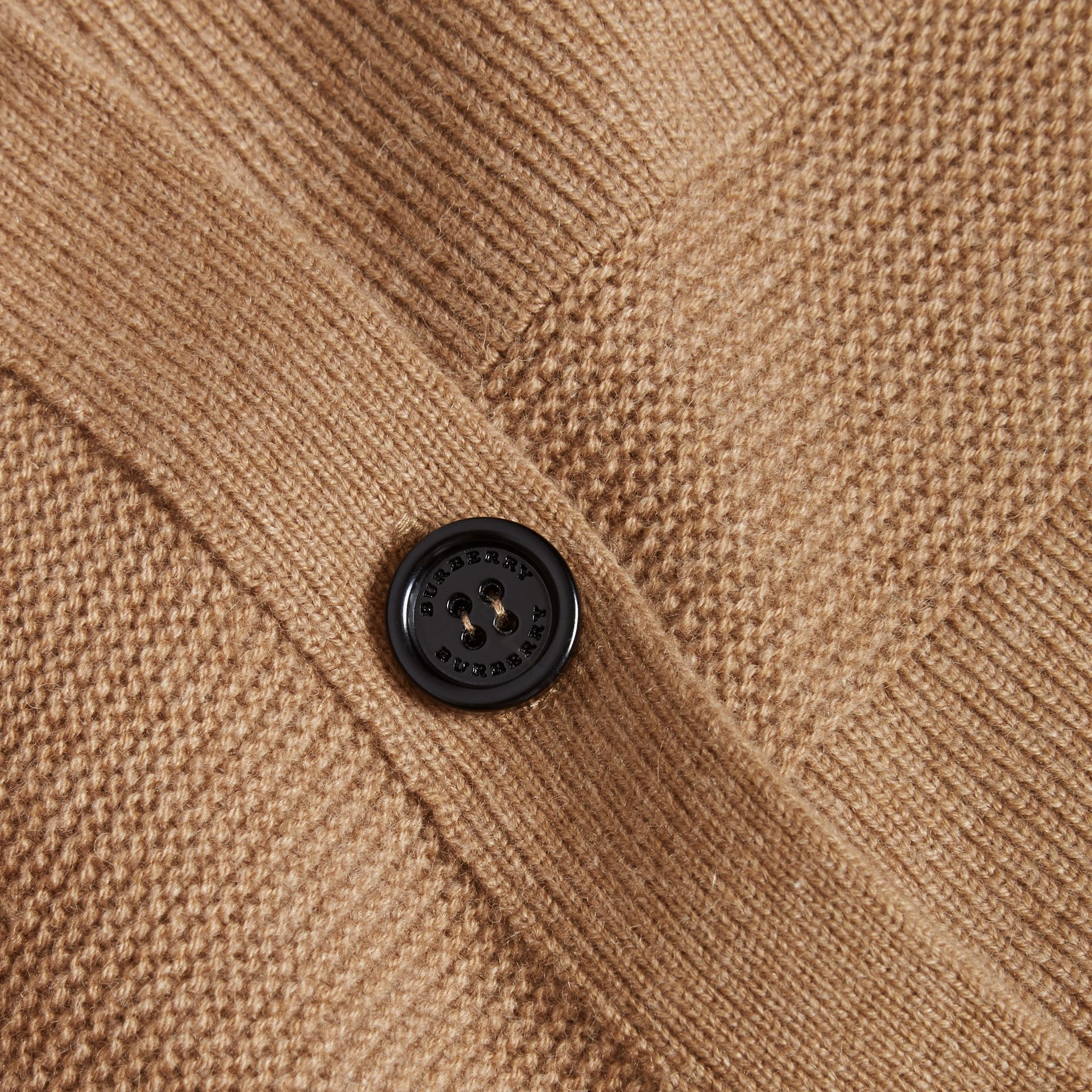 Check-knit Wool Cashmere Cardigan Camel - gallery image 2