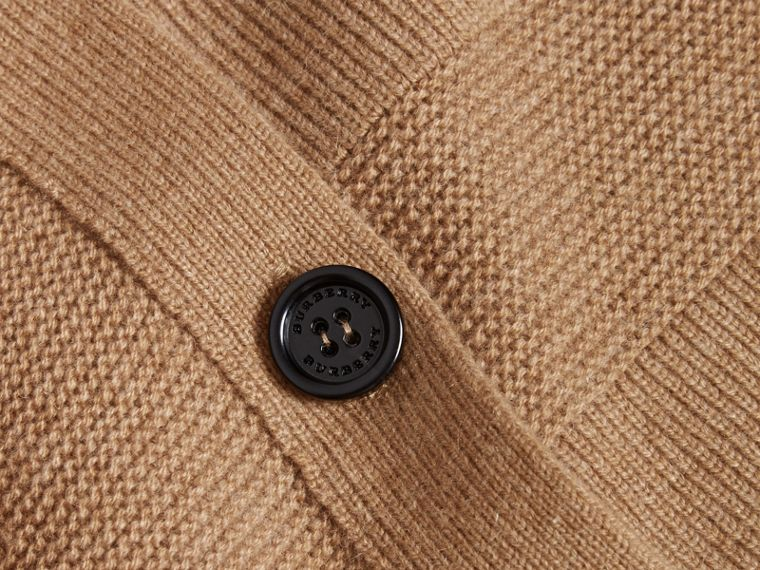 Check-knit Wool Cashmere Cardigan in Camel - cell image 1