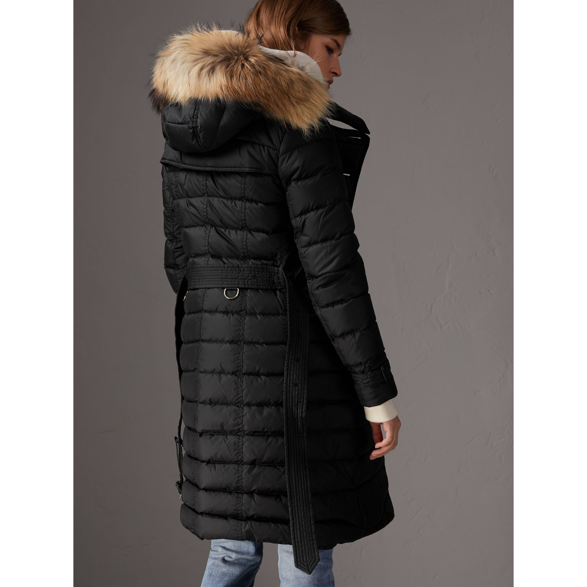 Detachable Hood Fur Trim Down-filled Puffer Coat in Black - Women | Burberry United States - gallery image 2