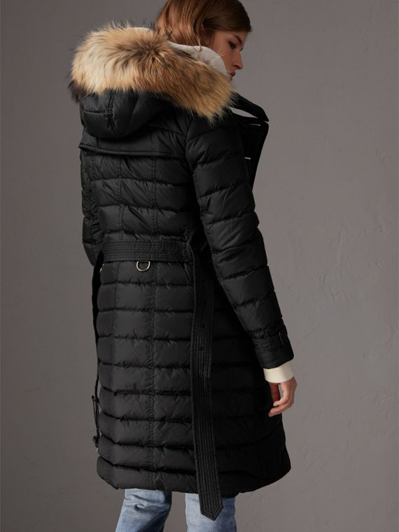 Detachable Hood Fur Trim Down-filled Puffer Coat in Black - Women | Burberry - cell image 2