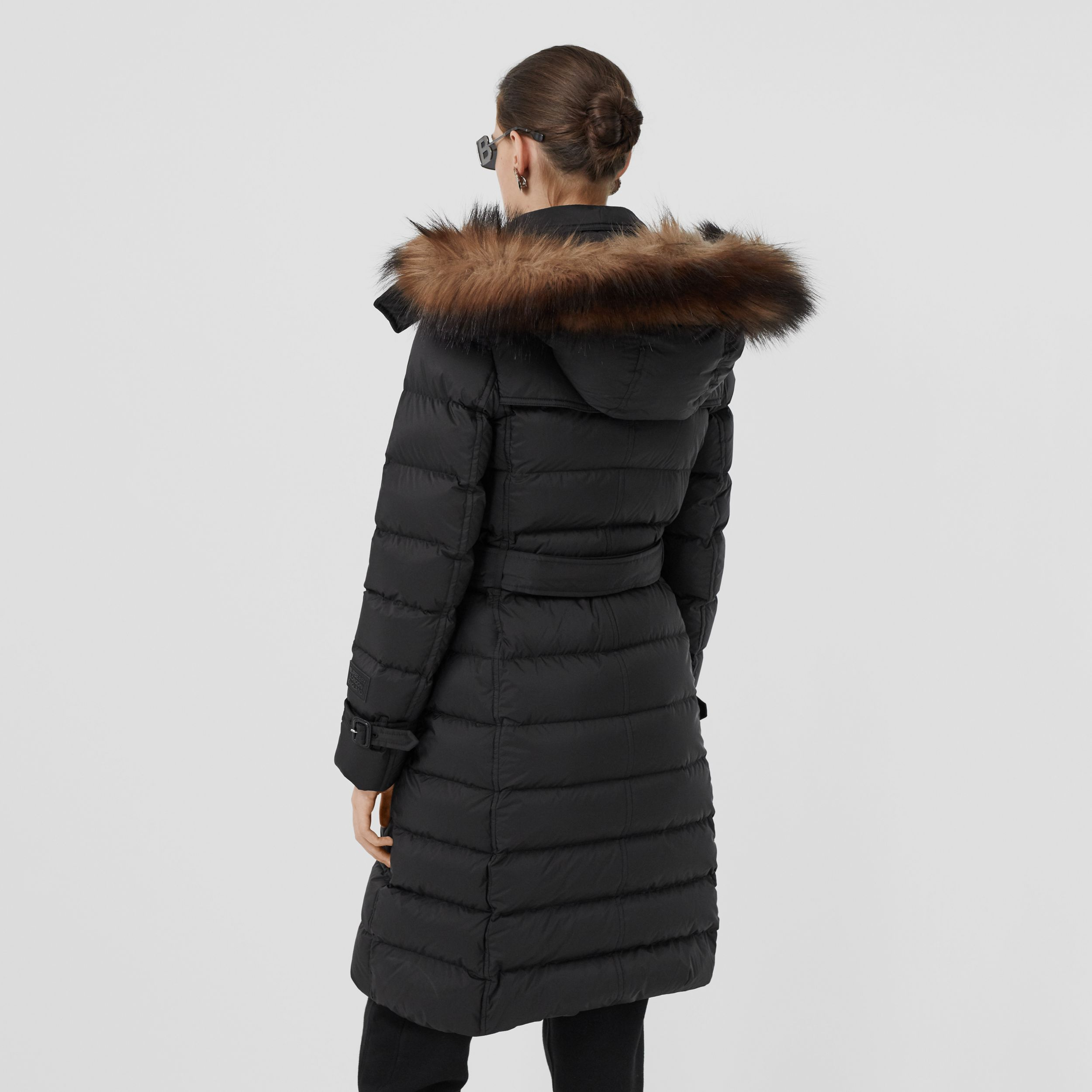 Detachable Hood Down-filled Coat in Black - Women | Burberry - 3