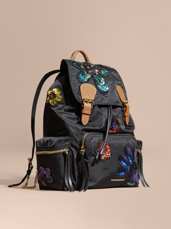 The Large Rucksack in Technical Nylon with Sequinned Flowers