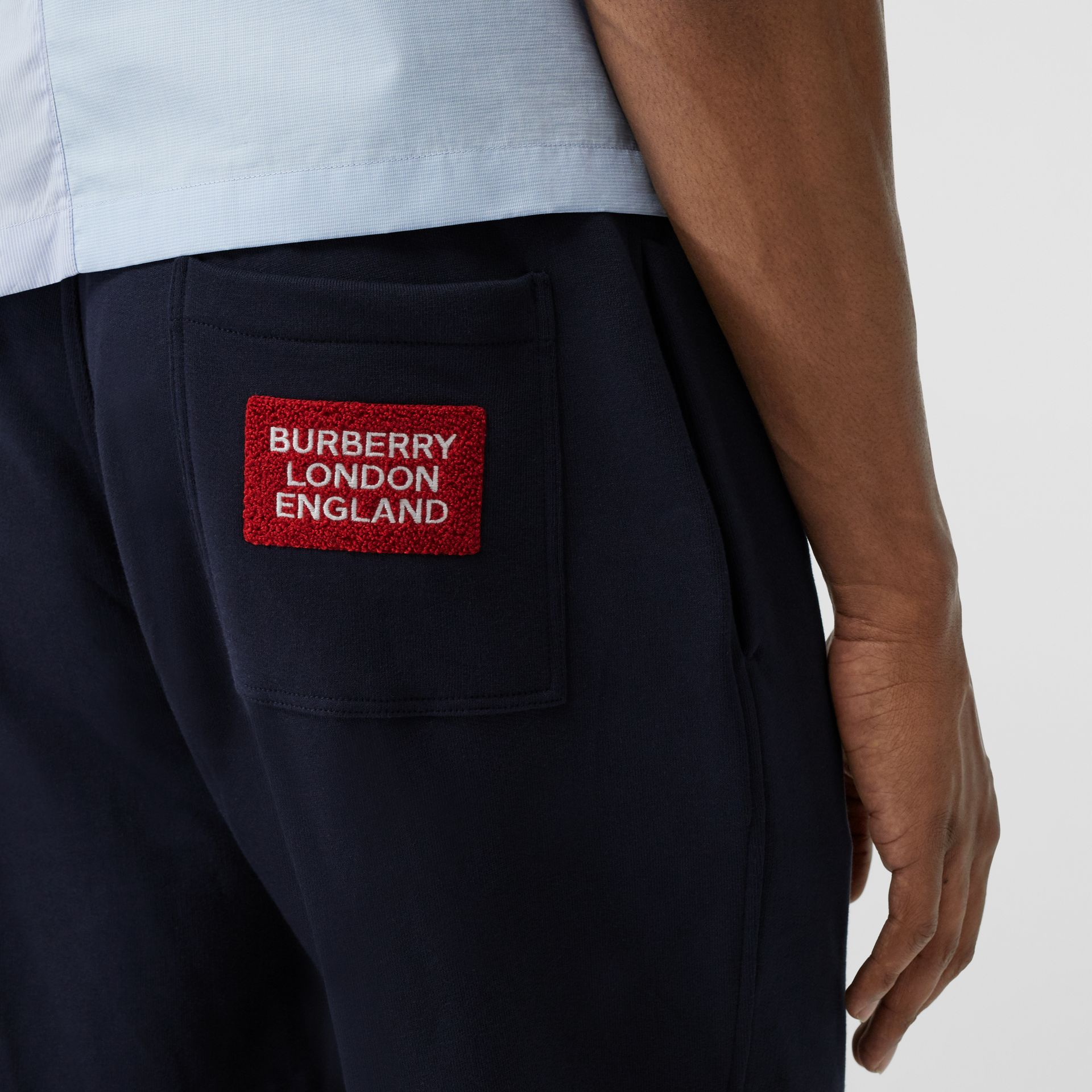 Logo Appliqué Cotton Trackpants in Navy - Men | Burberry - gallery image 1