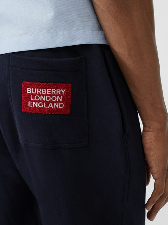Logo Appliqué Cotton Trackpants in Navy - Men | Burberry - cell image 1
