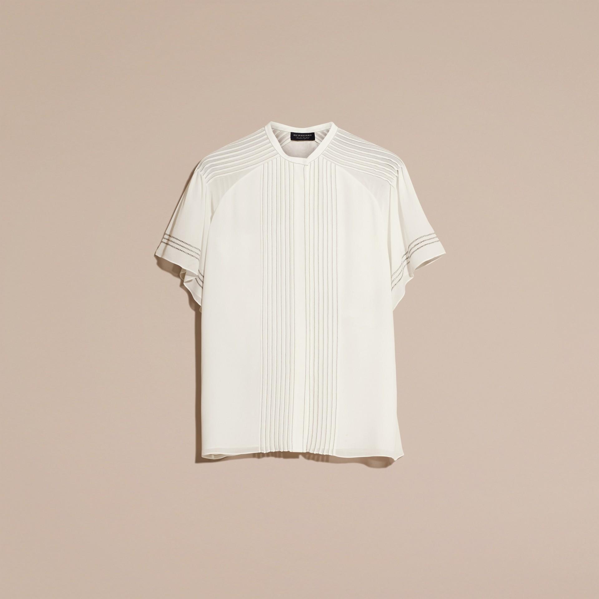 Bianco Blusa in seta con maniche stile mantella - immagine della galleria 4