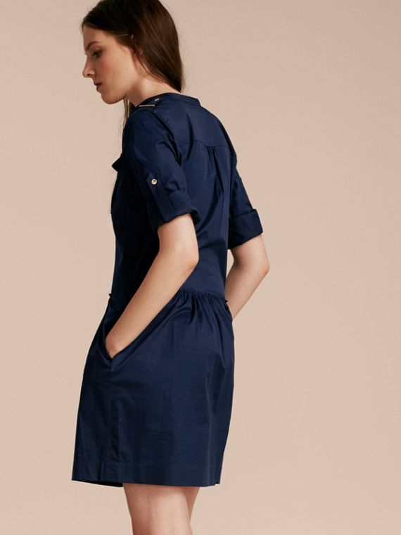 Dark pewter blue Military-inspired Cotton Blend Shirt Dress Dark Pewter Blue - cell image 2