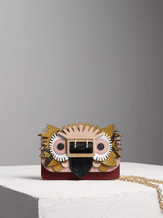 Borsa The Buckle mini in pelle e pelle di serpente con motivo Bestiario (Rosa Cenere) - Donna | Burberry
