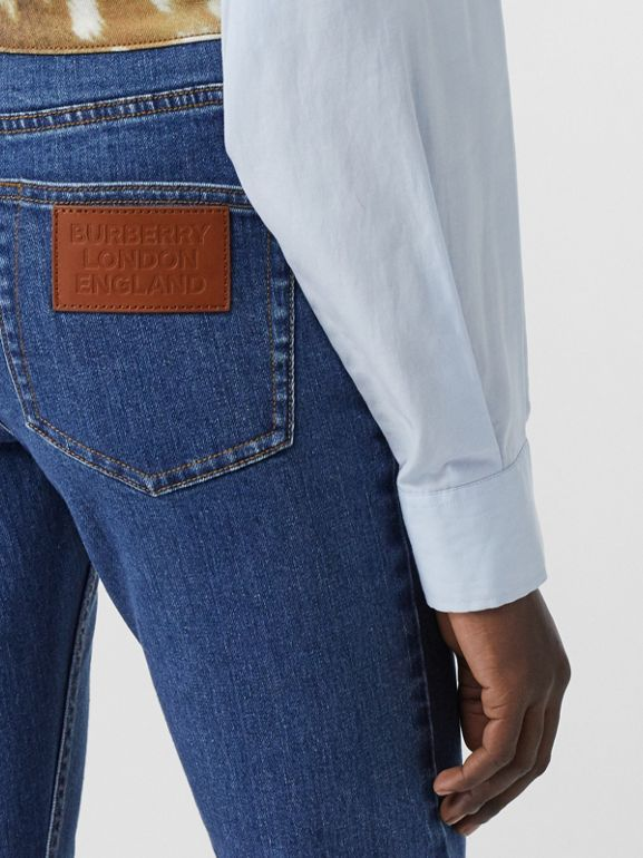 Skinny Fit Deer Print Trim Japanese Denim Jeans in Mid Blue - Women | Burberry United Kingdom - cell image 1