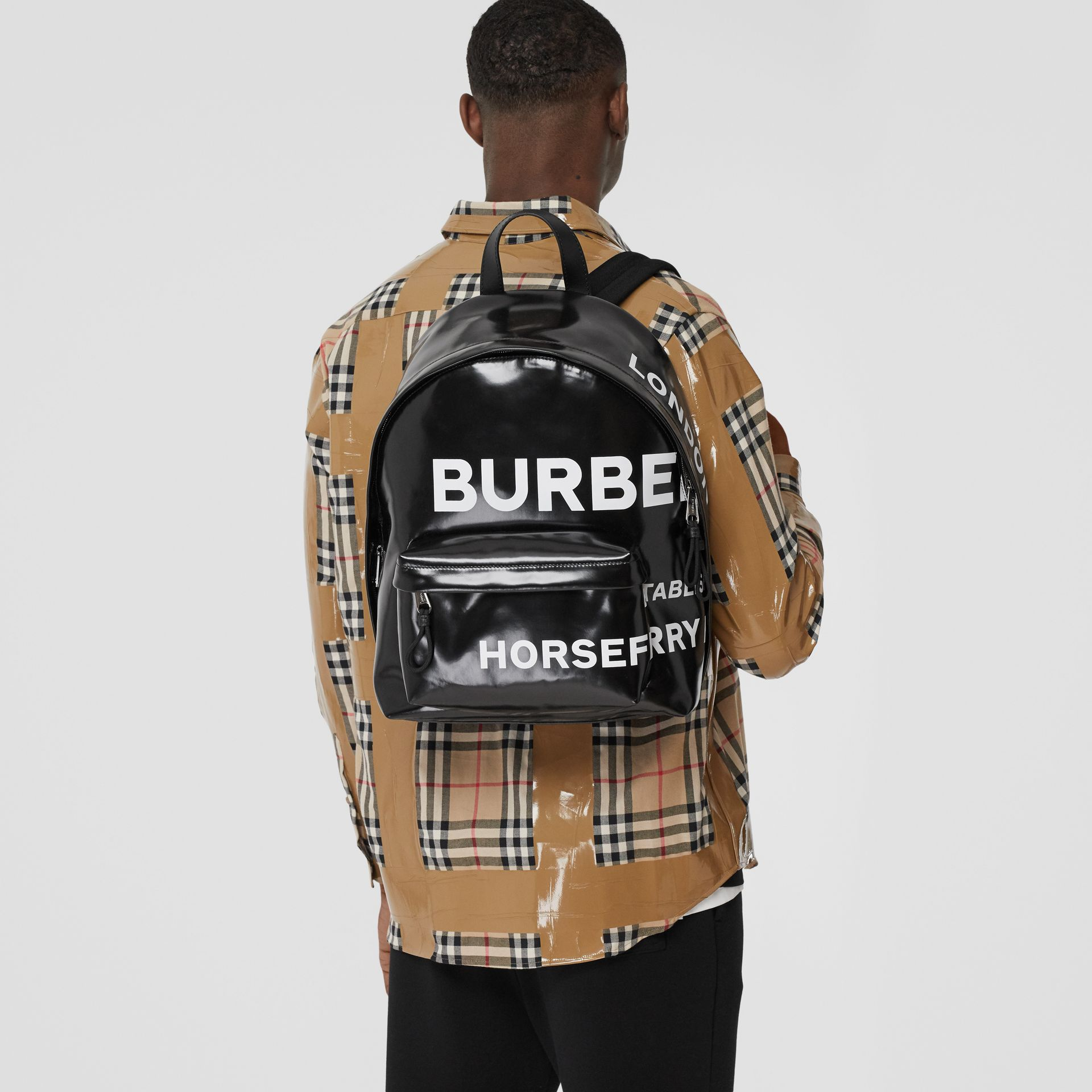 Horseferry Print Coated Canvas Backpack in Black/white | Burberry - gallery image 2