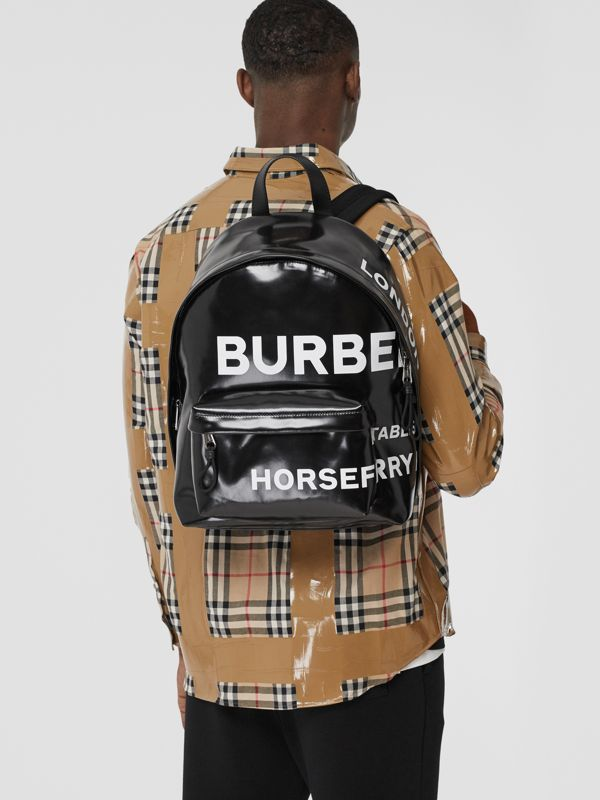 Horseferry Print Coated Canvas Backpack in Black/white | Burberry - cell image 3