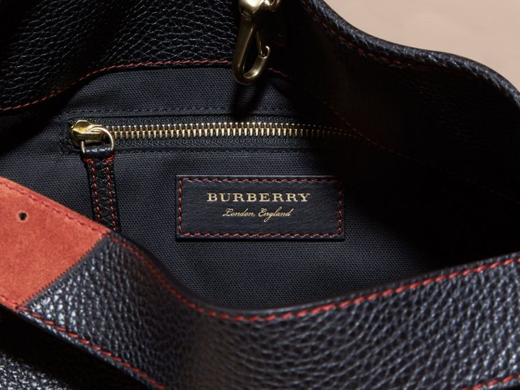 The Medium Ashby in Patchwork Canvas Check and Leather in Black - Women | Burberry - cell image 4