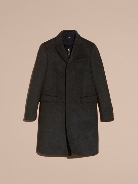 Dark grey melange Wool Cashmere Coat with Detachable Warmer - cell image 3
