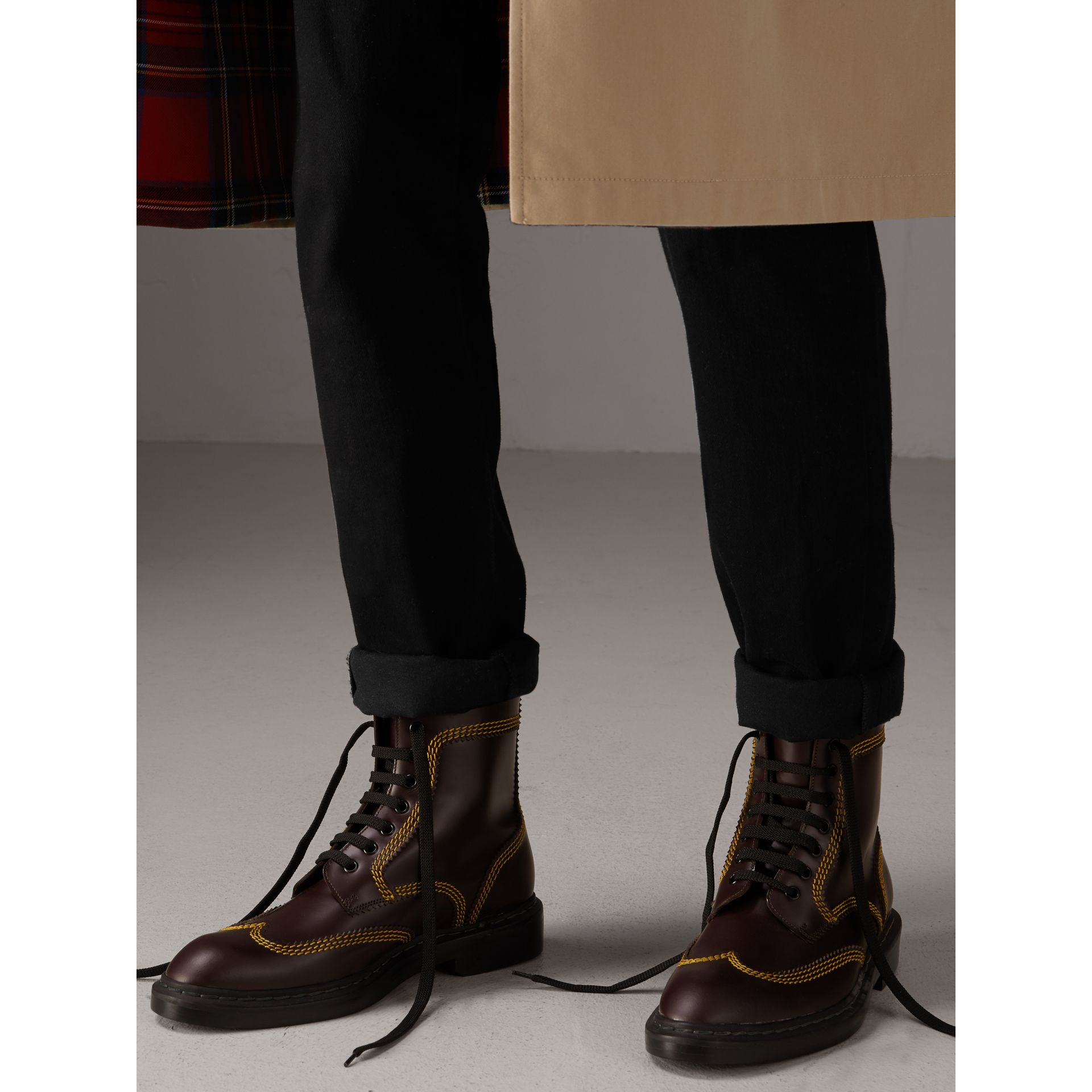 Topstitched Leather Derby Boots in Bordeaux - Men | Burberry - gallery image 2