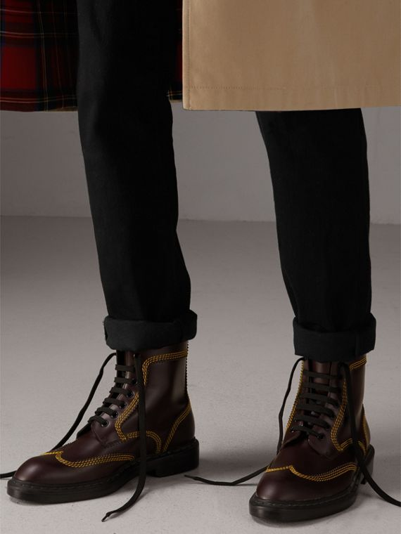 Topstitched Leather Derby Boots in Bordeaux - Men | Burberry - cell image 2