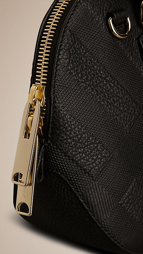 Black The Small Orchard in Embossed Check Leather - Image 6