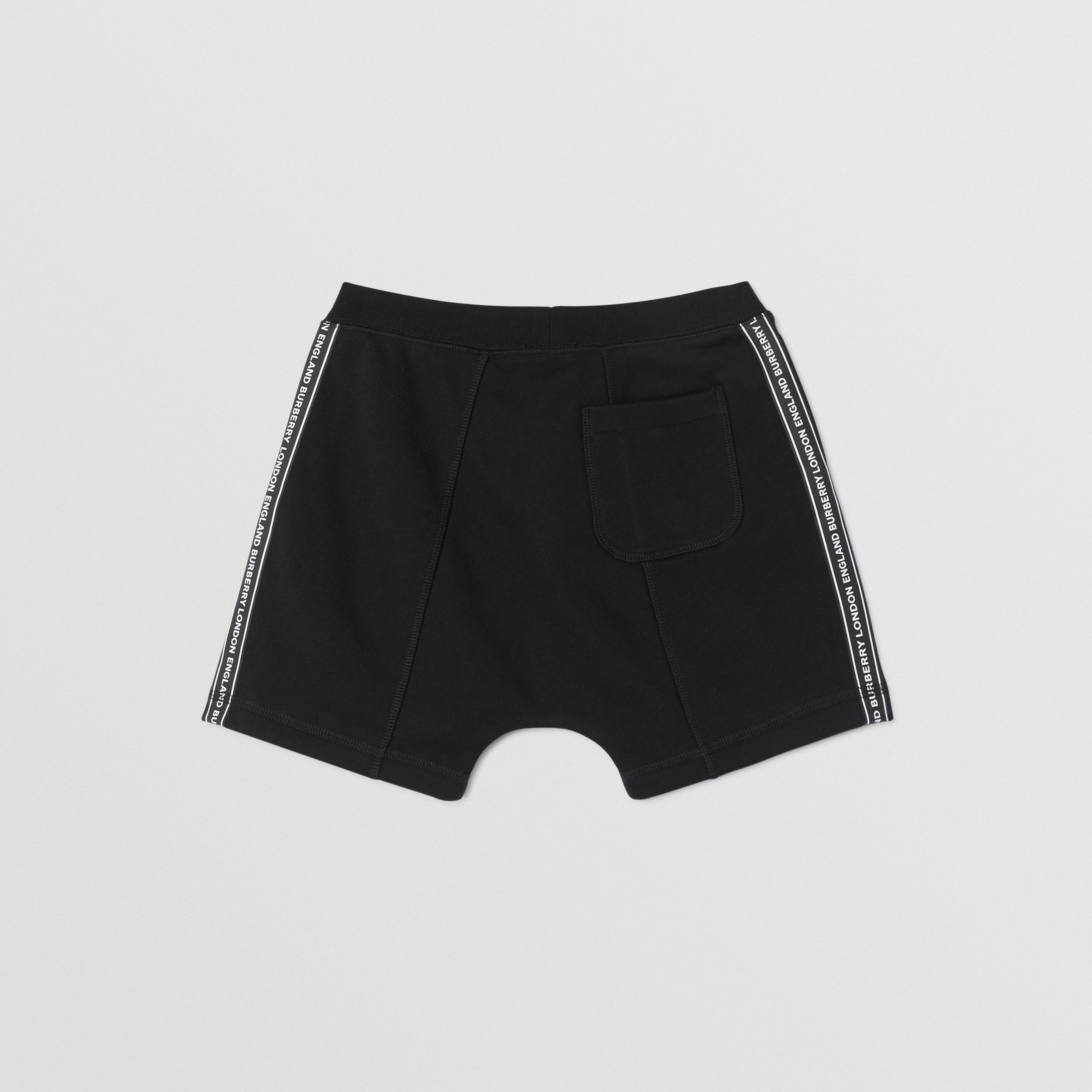 Logo Tape Cotton Drawcord Shorts in Black | Burberry Canada - 4