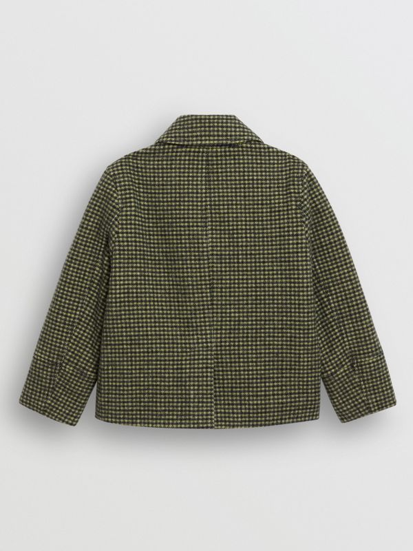 Check Wool Blend Tailored Coat in Grass Green - Children | Burberry - cell image 3