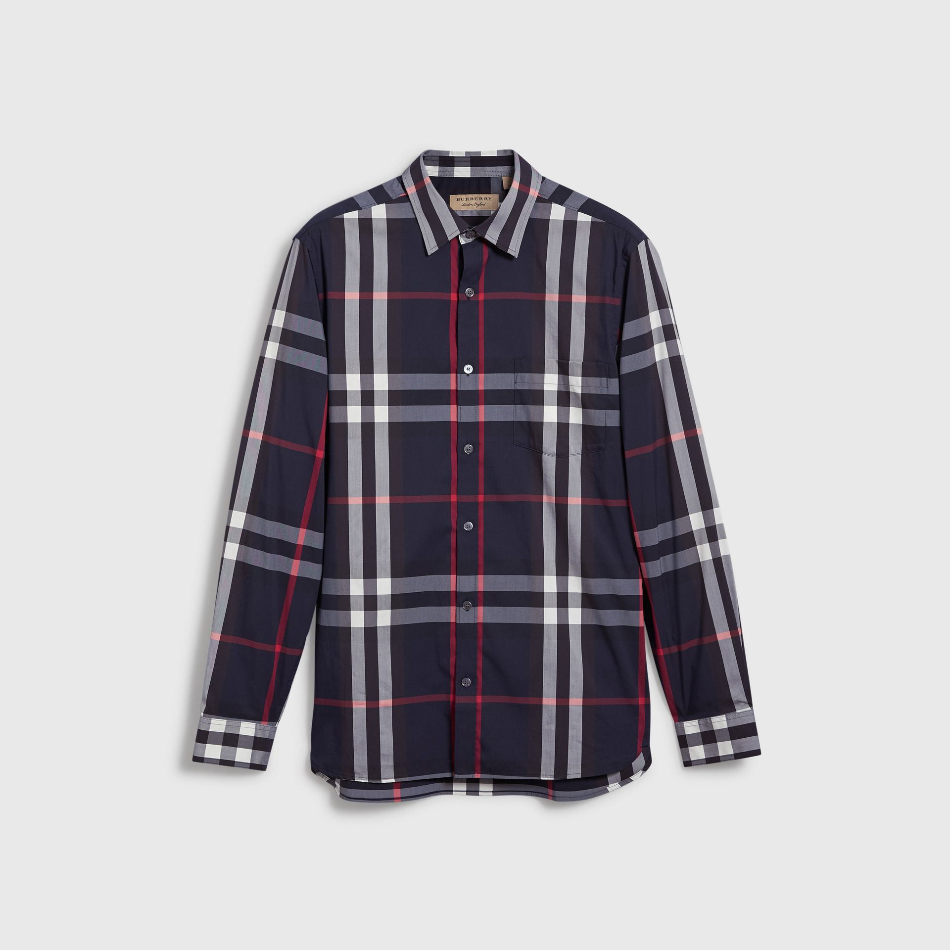 Check Stretch Cotton Shirt in Navy - Men | Burberry United Kingdom - gallery image 3