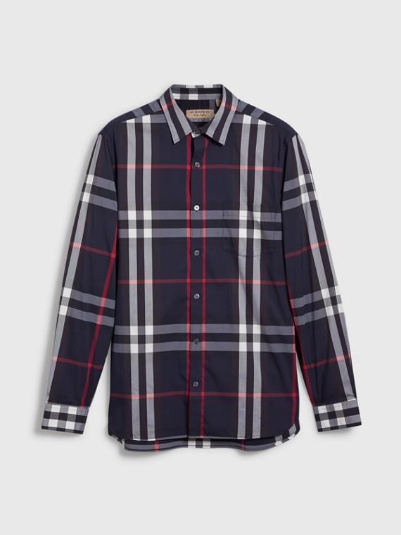 Camisa de algodão stretch com estampa xadrez (Azul Marinho)