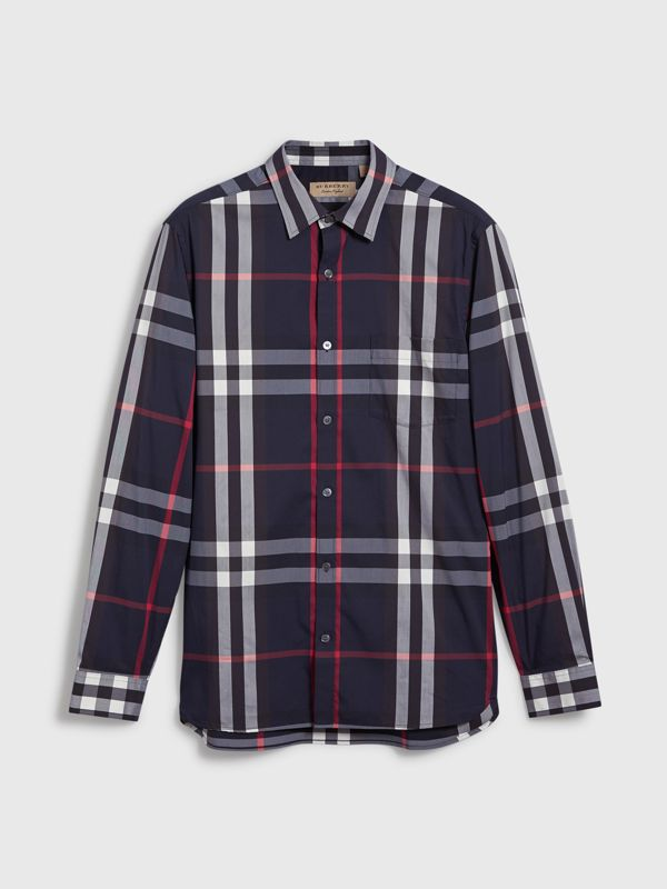 Check Stretch Cotton Shirt in Navy - Men | Burberry - cell image 3