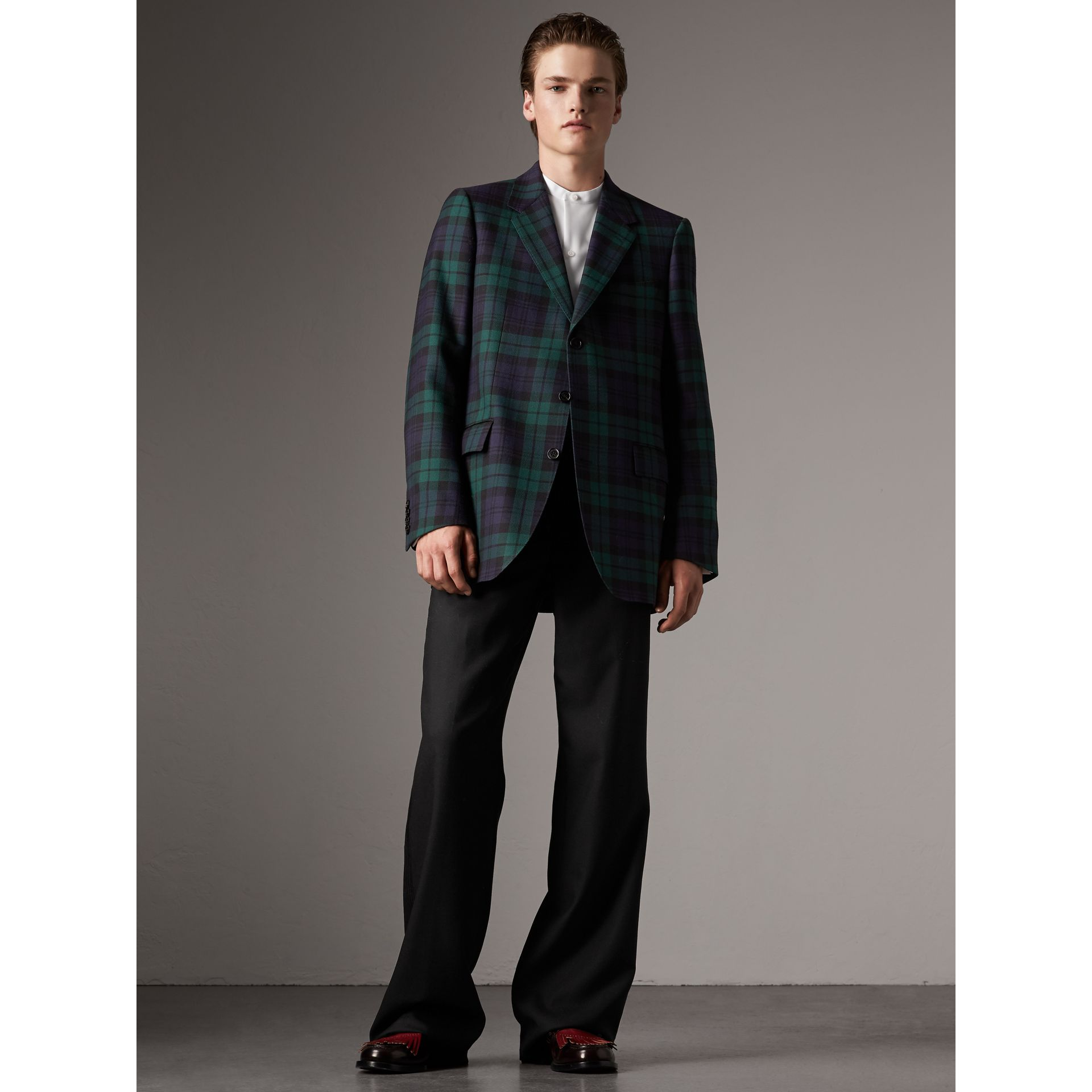 Tartan Wool Tailored Jacket in Bright Navy - Men | Burberry - gallery image 1
