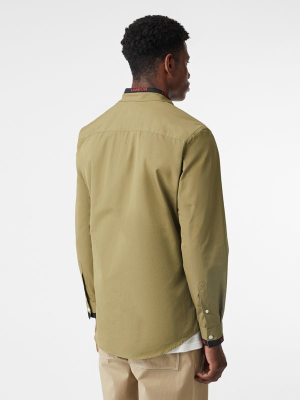Logo Detail Cotton Poplin Shirt in Utility Green - Men | Burberry - cell image 2
