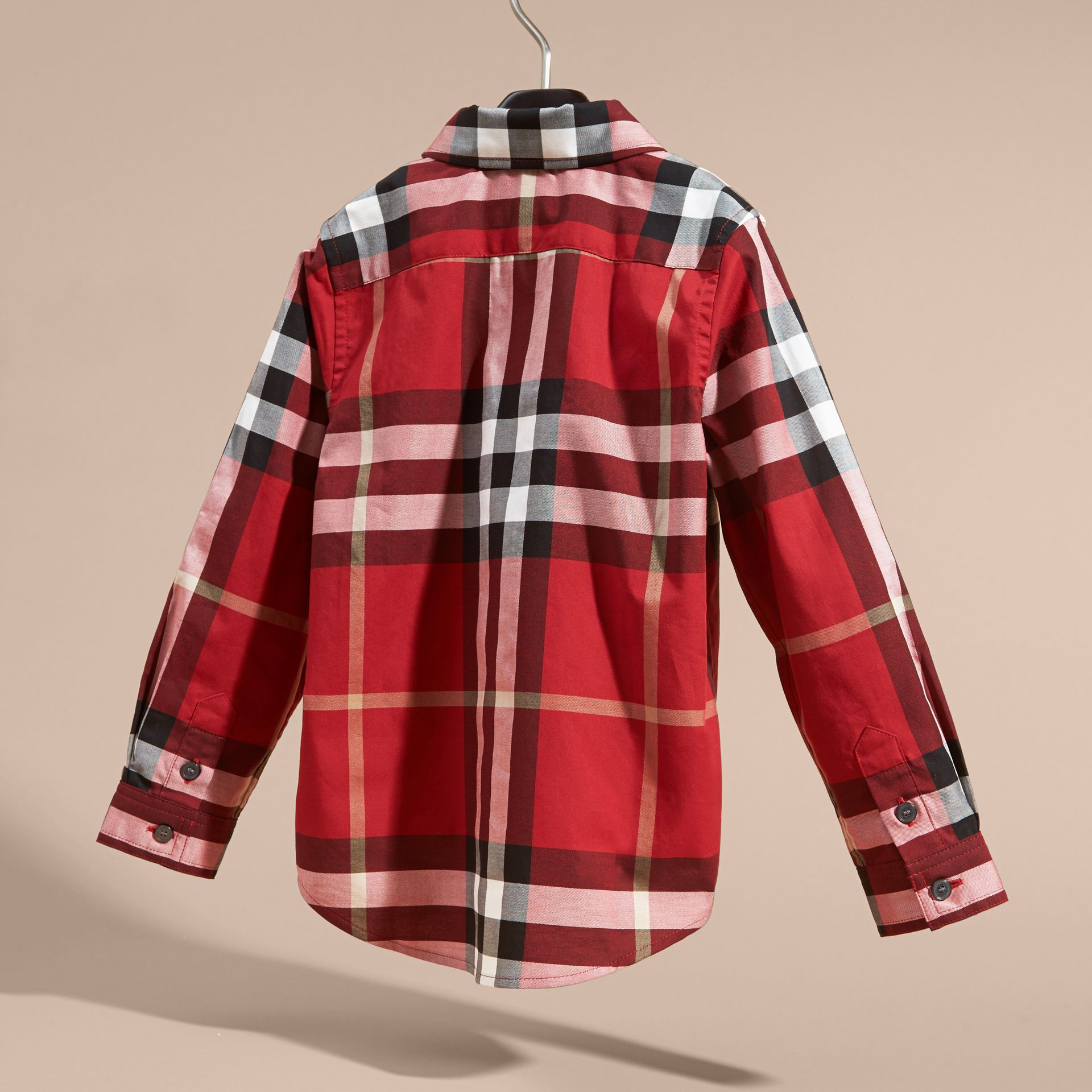 Check Cotton Button-Down Shirt in Parade Red - Boy | Burberry Hong Kong - gallery image 4
