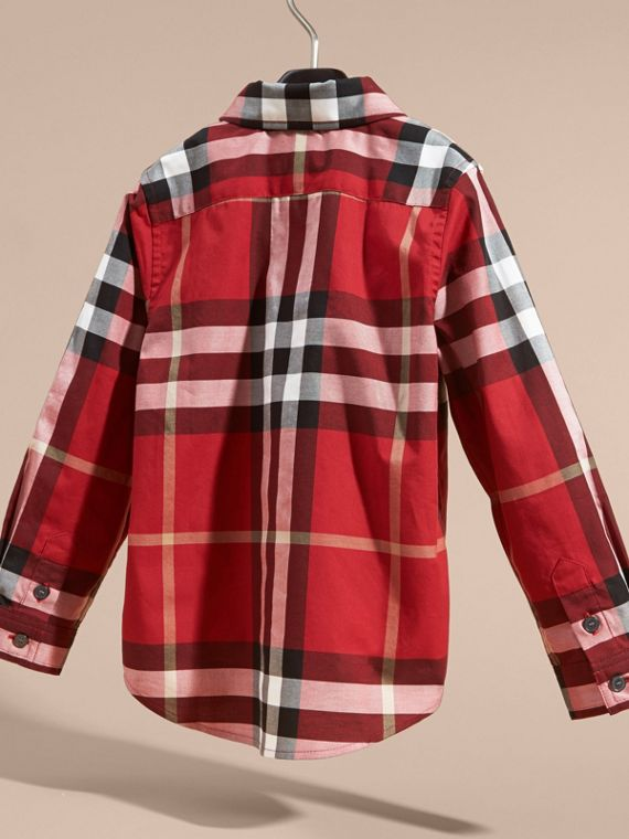 Check Cotton Button-Down Shirt in Parade Red - Boy | Burberry - cell image 3