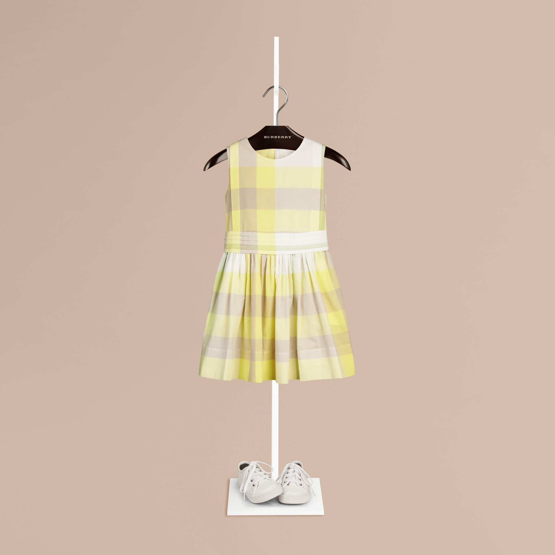 Pale lemon Sleeveless Check Cotton Dress Pale Lemon - gallery image 1