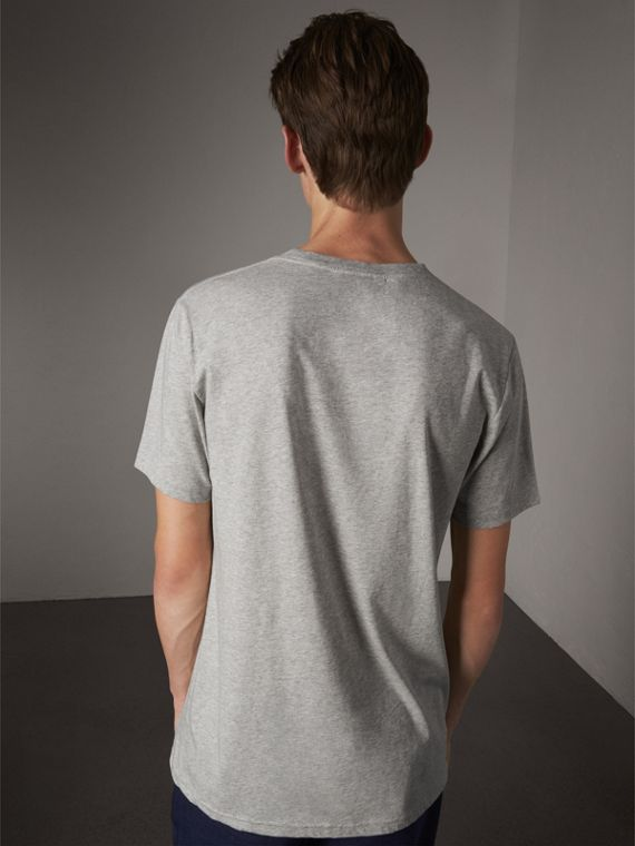 Open Spaces Graphic Motif Cotton T-shirt in Pale Grey Melange - Men | Burberry - cell image 2