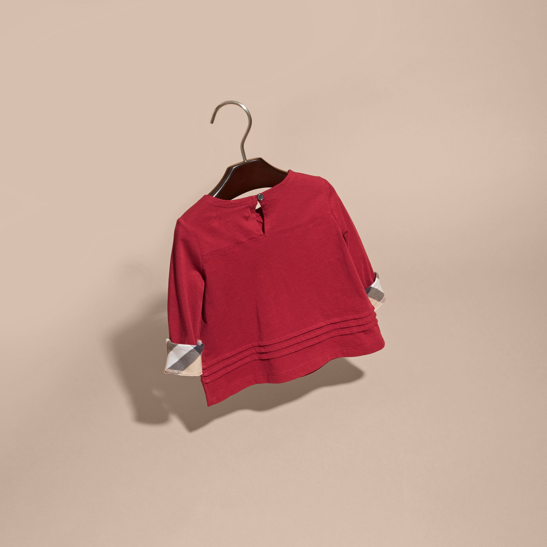 Long-sleeved Check Trim Cotton T-shirt in Parade Red - gallery image 4