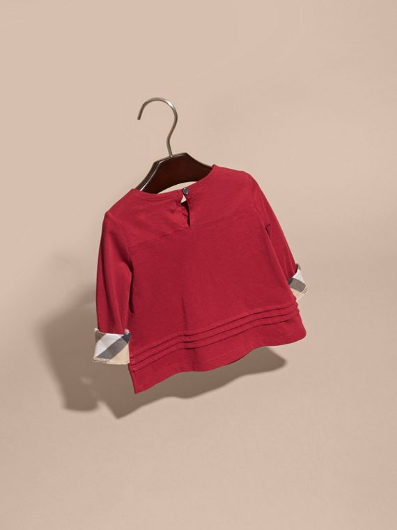 Long-sleeved Check Trim Cotton T-shirt in Parade Red - cell image 3